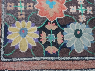 American Hooked Rug, circa 1900, 3-9 x 6-6, edges need some work (binding), good condition,has some weak areas in foundation, cotton and wool fabric, needs a wash.