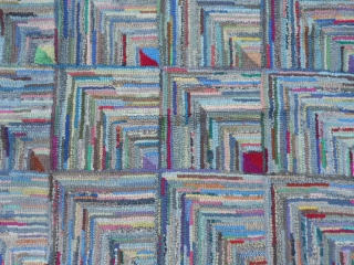 """American Hooked Rug, 8-11 x 11-3 (2.72 x 3.43), circa 1920, cotton fabric, good condition, Log Cabin Design, slight wear on binding (see picture), 2"""" x 2"""" on edge needs reweaving (see  ..."""