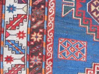 Caucasian Kazak, circa 1900, 4-4 x 8-8 (1.32 x 2.64), rug was washed, browns oxidized, one end original braiding, good pile, good condition, few moth bites, original edges and ends, slight wear,  ...