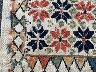 """Persian Shah Savan small double bag, late 19th century,  8"""" x 1-6 (20 x 46), good condition,  fraying on sides, some wear, back stained, wool and cotton, rug was hand  ..."""