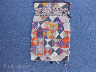 "Uzbek Purse/Bag, early 20th century, 5"" x 8"" (.13 x .20), each side different, cotton, silk, some fading and dye run, plus shipping."