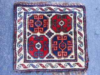 Persian Shah Savan pile bag face, late 19th century, 1-5 x 1-7 (.43 x .48), good condition, good pile, hand washed, minor side loss, cord sewn on but loose, minor moth damage,  ...