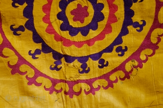 Yellow Silk Ground Suzani.  Late 19th century.  The silk still has a nice crispy shine from the egg white coating beaten into it to protect it.  Generally in pretty  ...