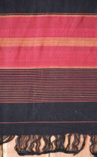 Baluch Long Shawl. Very fine deep black cotton weave with silk end panels dyed with cochineal. This one is in wonderful condition.  126 x 460 cm