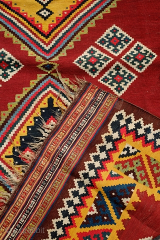 Qashqa'i Kilim, 4th quarter of 19th century. Very tight and fine weave and on the thin side. All natural dyes in saturated tones. A refined and wonderful composition. In great condition and  ...