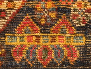 Kurdish bag face, Late 19th Century.  Possibly Lori as well.  Very soft wool.  Stunning colors in a wild, joyful variety.  Some yellow wefts.  Very saturated indigo ground.  ...