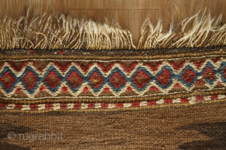Kordi Runner Kilim, 1900 or so.  Finger-like serrations along the inner field with a stiking extra-weft pendant in the center in natural dyes.  The border is also in extra-weft wrapping  ...