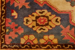 European Hook Rug in Transylvanian style. Early 1900s or so.  Exquisite composition.  The colors are soft and muted.  There is a very small area of moth nibble.  208  ...