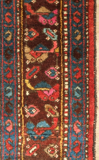 Kurdish rug, Hamadan area, 1920s to 1940s.  Great lustrous colors and very soft wool.   Attractive scrolling floral borders.  128 x 200 cm