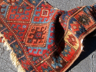 "Kurdish Jaff bag face or front, nineteenth century, all dyes appear natural including strongly saturated red, ends slightly reduced.  30"" by 21"".  Please ask for additional photos if needed."