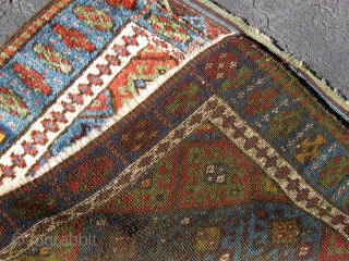 """Meaty Jaf (Jaff) Kurdish bag face or front, full pile, all natural dyes including lovely greens, original ends and sides, first quarter of the 20th century.  32"""" by 27"""".  Please  ..."""