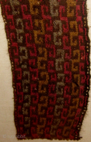 """Framed Pre-Columbian (Chancay) textile fragment, either belt or headband, with 3 repeating patterns in succession, 11"""" by 27"""" frame size, 3"""" by 20"""" fragment size.  Please ask for additional photos"""