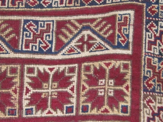 """Rare antique Algerian (Guergour) rug (Thanks Simon!). A first for me.   4' by 8'4"""". Very floppy.  All dyes appear natural. Some old repairs.  Edges recently recast.  Please  ..."""