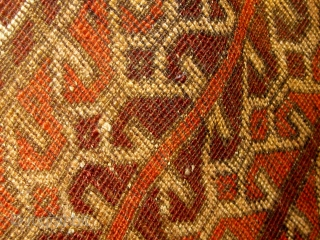 Lovely unusual antique Baluch large balisht or small rug, 1900 or before, all natural dyes, beautiful condition, with a design I have seen used as element of a larger composition before and  ...