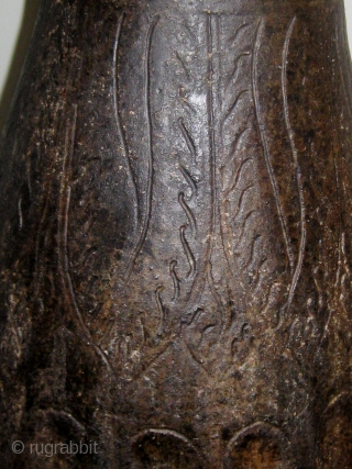 """14th-15th Century oversize Khmer temple vase, incised decoration on  the upper half, faceted bottom half, some restorations.  Approximately 24"""" high, 11"""" across at its widest.  Please ask for additional  ..."""