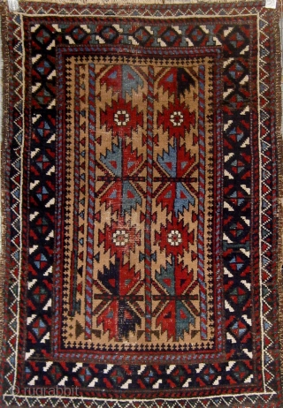 """Lovely camel ground 19th century Baluch small rug, with beautiful shades of pale blue, blue-green, and darker blue, with strong graphics.  All natural  dyes, very floppy handle.  34"""" by  ..."""