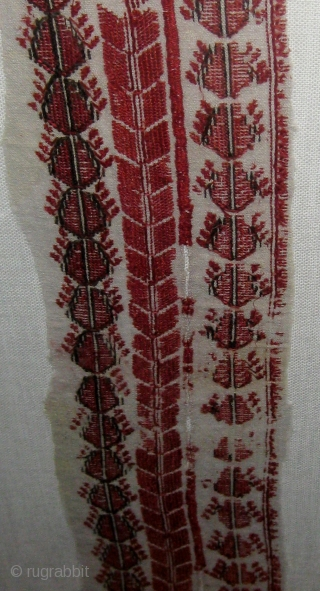 """Colonial period Central or South American embroidered fragment, approximately 5"""" by 30"""" (textile alone), 11 1/2"""" by 35"""" in its frame.  From the same collection as the previous two listed on  ..."""