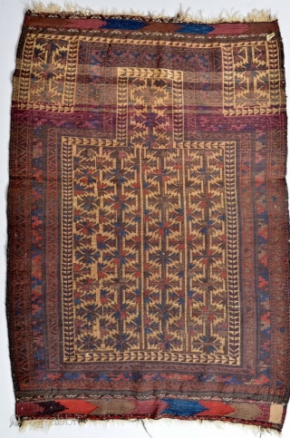Antique Baluch prayer rug in lovely condition.  All dyes appear natural.