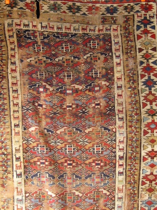 "Beautiful large fragmented mid 19th Century Kurdish long rug.  Approximately 52"" by 128"".  Please ask for additional photos."