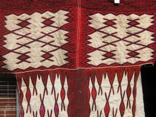 """Woman's overgarment, homespun flax and wool, 81"""" wide including sleeves, 42"""" down, Weining area, Guizhou, China, mid 20th century.  Please ask for additional photos."""