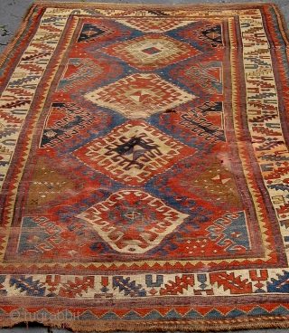 """Fresh from a local estate, an antique Caucasian long rug, all natural dyes, 8'9""""by 4'5"""", with some condition issues that will require some restoration as seen in photos.  This rug is  ..."""