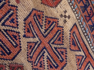 Small antique Baluch, camel ground, all natural dyes, floppy handle, circa 1890-1910, complete flat-weave ends, original sides, one small break easily repaired.  Reasonably priced.  Please ask for additional photos.   ...