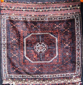"""Exceptional Baluch bag front with animals and silk highlights, amazing flat woven ends, very tight weave, floppy handle.  19th century.  32"""" square. Please ask for additional photos if needed."""