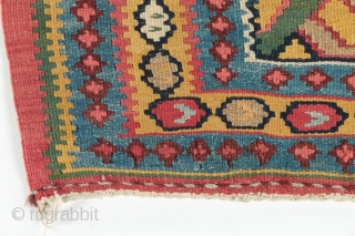 """Antique Bidjar kilim runner, circa 1890-1900.  All natural dyes, including a beautiful yellow gold and green.  Birds in the central medallion.  Some old repairs. 46"""" by 180""""."""