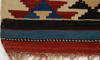 "Antique Caucasian Shirvan kilim, circa 1890-1910.  In lovely condition.  All dyes appear natural.  A little smaller than most of this type at 50"" by 92"".  Please ask for  ..."