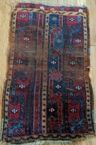 Antique Central Anatolian (Kirsehir area) yastik, with a field composed of three vertical bands with meander vine motifs.  Last quarter of the nineteenth century or before.  All dyes natural.   ...