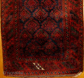 """Wonderful antique Baluch balisht with full pile, original ends and sides, all natural colors including a beautiful green, soft and silky wool.  Circa 1890-1910.  Roughly 20"""" by 30"""".  Please  ..."""