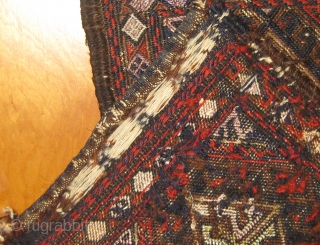"""Antique 19th Century flat weave Baluch chanteh.  In good condition with selvedges partially reattached (see photos).  Silk (pale violet) and metal thread details.  Roughly 16"""" by 9"""".  Please  ..."""