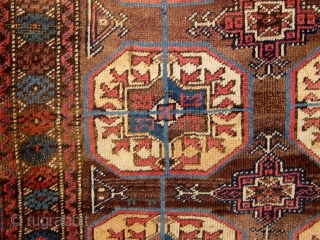 Antique Baluch (symmetrically knotted) carpet, beautiful light palette with pale blues, rose, violet, etc. in natural dyes.  1890-1900.  Generally good condition, with original edges, good pile in the lower half,  ...