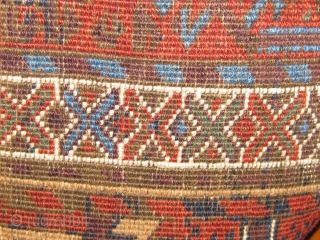 Beautiful 19th century Baluch carpet, extremely rare field design, with a beautiful array of blues, all natural dyes.  In good condition, edges all original, ends reduced, usual oxidation of the brown  ...