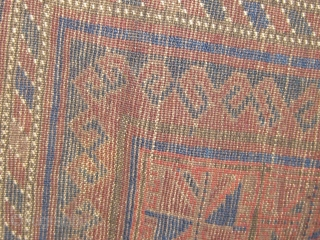 Antique Baluch prayer rug, dark palette, all dyes natural, circa 1900-1920, in beautiful condition with basically full pile and original sides and ends (including rarely seen braiding on the top end and  ...