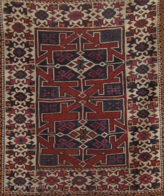 """Antique Canakkale (Bergama area).  19th Century.  All natural dyes including cochineal.  Beautiful condition, with original ends and sides and medium to full pile all over.  43"""" by 37"""".  ..."""