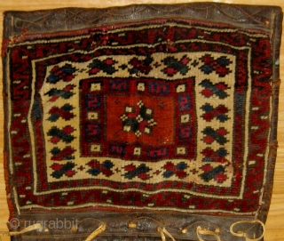 Antique Anatolian heybe from the Bergama area, 19th Century, all natural dyes including beautiful shades of apricot, rose, violet, blue-green etc.  Complete bags with original leather trim and closure systems.   ...