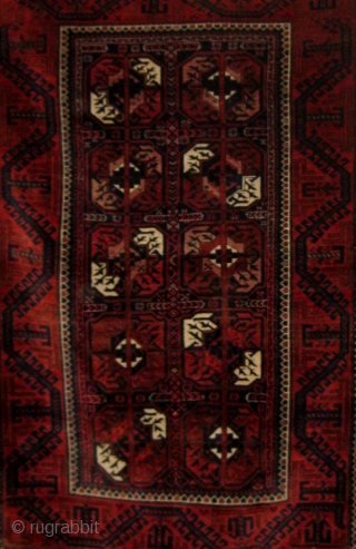 "Antique Khorassan Baluch carpet circa 1890-1910 in pristine original condition, full pile, ends and sides intact.  37"" by 66"".  All natural dyes with the possible exception of an early violet  ..."
