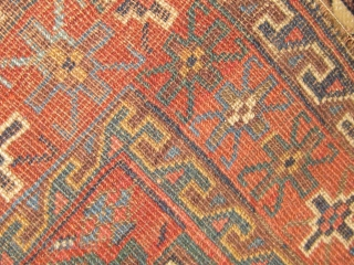 """Rare antique Kurd of Khorassan bag face or front, all natural  dyes including beautiful pale blues and blue-green, 19th century. 33"""" by 29"""".  Some minor end damage.  Please ask  ..."""