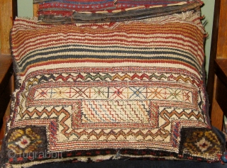"""Antique Luri/Bakhtiyari single saddlebag, all natural dyes, full pile, beautifully ornamented flat woven back, circa 1890.  Pillow optional. 16"""" by 19"""".  Please ask for additional photos."""