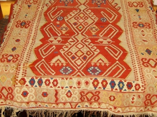 Antique central or western Anatolian prayer or altar kilim, in beautiful condition.  19th Century.  All natural dyes.  Complete ends and sides.  Two well executed repairs lower left.   ...