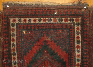 """Charming fairly small antique Baluch balisht, late nineteenth Century, some issues with selvages and corners, brown oxidation,  19"""" by 23"""".  All dyes natural.  Please ask for additional photos."""