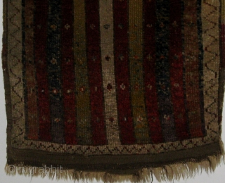 "Antique striped Anatolian yastik, 19th century, in good condition with original ends and edges.  Wonderful natural dyes including green, apricot, madder, ivory, various shades of blue and violet, etc.  19""  ..."