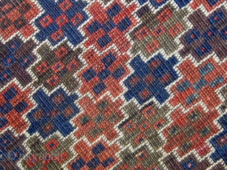 Rare 1890s Turkish-knotted (symmetrically knotted) Beluch (Baluch)rug in beautiful condition.  Original ends and sides.  All natural dyes including wonderful shades of rose and pale blue.  Rare tile design.   ...