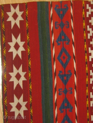 "Uzbek Jajim with beautiful colors and in pristine condition.  First quarter of the 20th Century.  67"" by 54"" roughly.  Please ask for additional photos if needed."