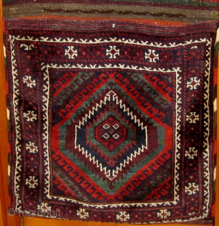 "Antique Baluch (Mushwani) khorjin in pristine condition, circa 1900, all natural dyes, beautiful silky wool, all original.  28"" by 64"".  Please ask for additional photos."