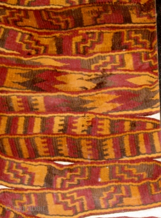 """Pre-Columbian Nazca culture camelid fibers band or sash, possibly originally used as mummy wrap.  8' 2"""" long and over 1 1/2"""" wide.  One end has been cut, the other is  ..."""
