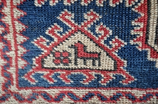"""Antique Bergama Anatolian village carpet, circa 1900, all natural dyes, very silky  wool, animals.  36"""" by 46"""".  Please ask for additional photos."""