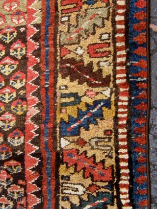 Antique Persian Kurdish rug (Western mountains), first quarter of the twentieth century, all natural dyes, roughly 4' by 7'.  Meaty, beautiful wool, interesting abrash, very tribal feel,  selvedges recast, some  ...
