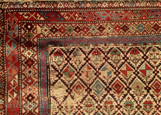 "Antique Shirvan Marasali pile carpet, 19th century, unusual square format (53"" BY 46""), all natural dyes, some areas of wear which could be easily re-piled.  Please ask for additional photos."